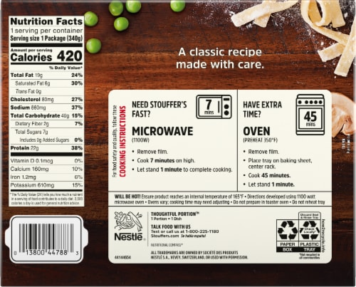 Stouffer's Tuna Noodle Casserole Frozen Meal Perspective: back