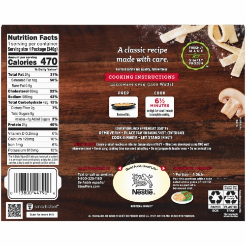 Stouffer's Turkey Tetrazzini Frozen Meal Perspective: back