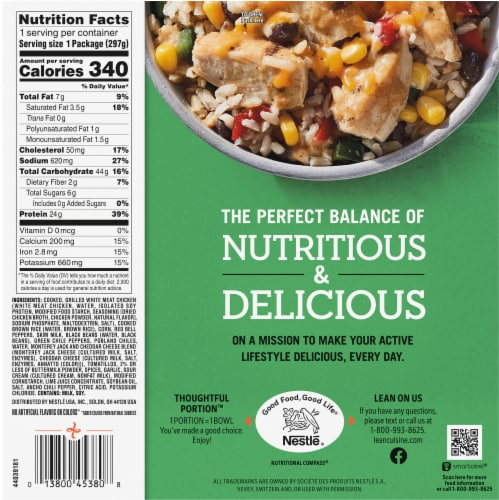 Lean Cuisine Bowls Unwrapped Chicken Burrito Frozen Meal Perspective: back