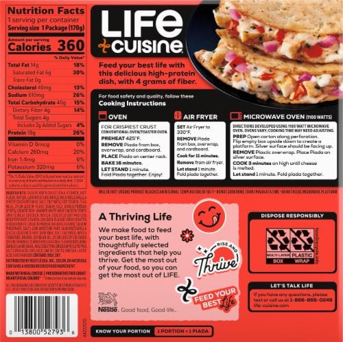 Life Cuisine™ Cauliflower Crust Chicken Mozzarella Piada Frozen Meal Perspective: back