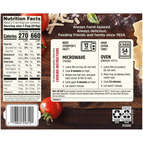 Stouffer's Lasagna with Meat & Sauce Frozen Meal Perspective: back