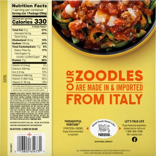 Life Cuisine Meatlovers Zoodles Bowl Frozen Entrée Perspective: back