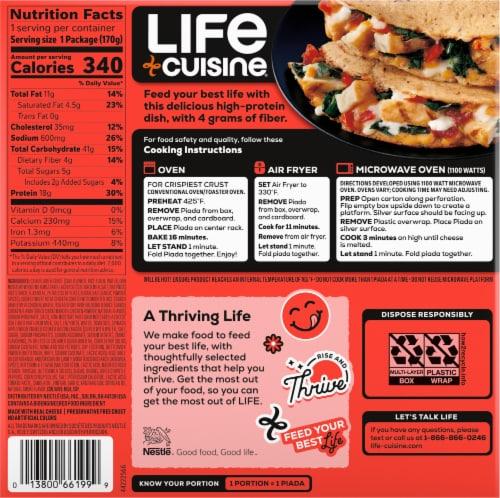 Life Cuisine Cauliflower Crust Chicken Bacon Ranch Piada Frozen Meal Perspective: back