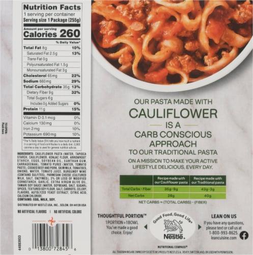 Lean Cuisine Cauli'Bowls Fettucini with Meat Sauce Cauliflower Pasta Frozen Meal Perspective: back