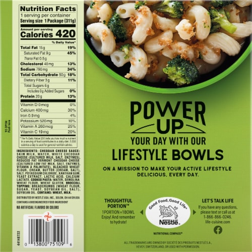 Life Cuisine™ Vermont White Cheddar Mac and Cheese Broccoli Bowl Frozen Meal Perspective: back