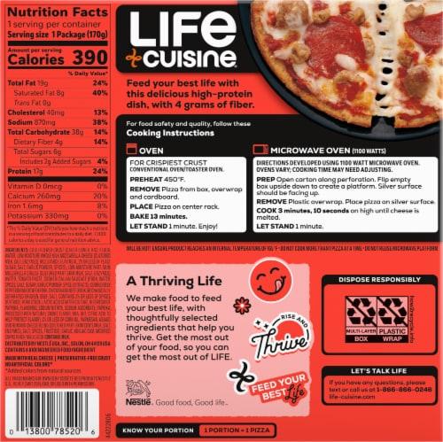 Life Cuisine Cauliflower Crust 3 Meat Pizza Frozen Entrée Perspective: back