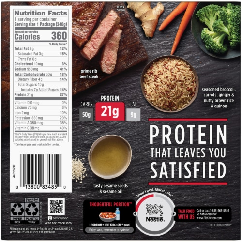 Stouffer's Fit Kitchen Beef with Broccoli Protein Bowl Frozen Meal Perspective: back