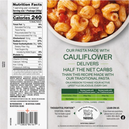 Lean Cuisine Cauli'Bowls Creamy Tomato Cauliflower Vodka Pasta Frozen Meal Perspective: back