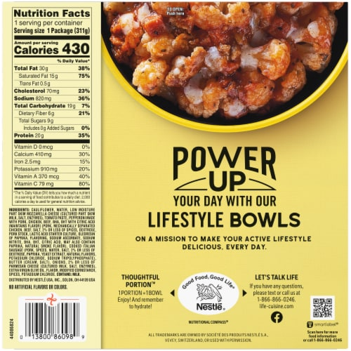 Life Cuisine Cauliflower Meatlovers Pizza Bowl Frozen Meal Perspective: back