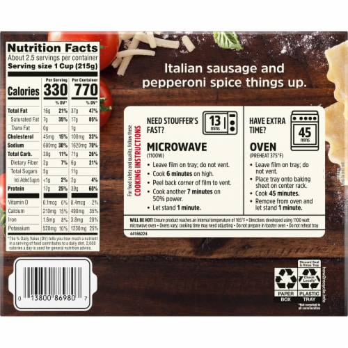 Stouffer's® Meat Lovers Lasagna Large Size Frozen Meal Perspective: back
