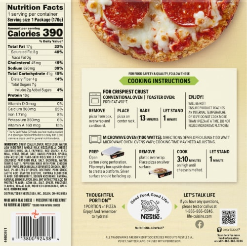 Life Cuisine™ Pepperoni Frozen Cauliflower Crust Pizza Perspective: back