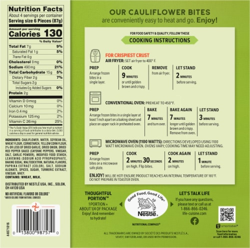 Life Cuisine Buffalo Style Cauliflower Bites Perspective: back
