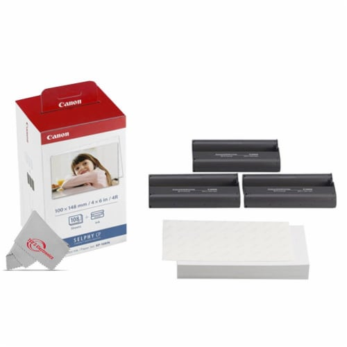 Canon Selphy KP-108IN Color Ink Paper Set 108 4x6 Photo Sheets 3 Toners 3115B001 Perspective: back