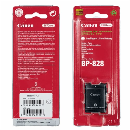 Genuine Canon Bp-828 Lithium-ion Battery Pack In Original Retail Blister Pack Perspective: back
