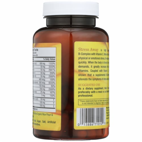 Pure Vegan Stress Away High Potency B-Complex Vegetarian Capsules Perspective: back