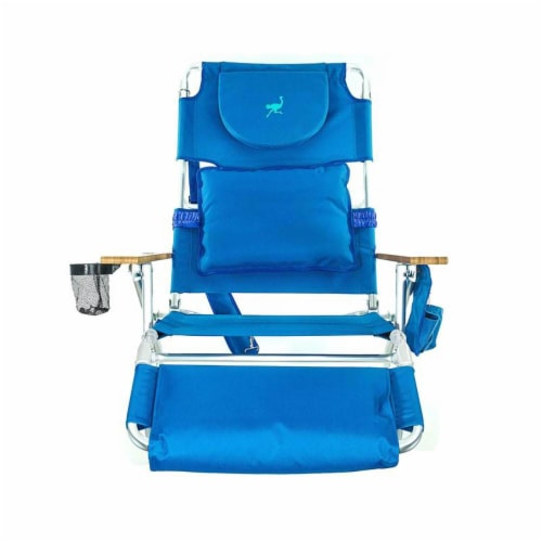 Ostrich Deluxe Padded 3-N-1 Outdoor Lounge Reclining Beach Chair, Blue Perspective: back