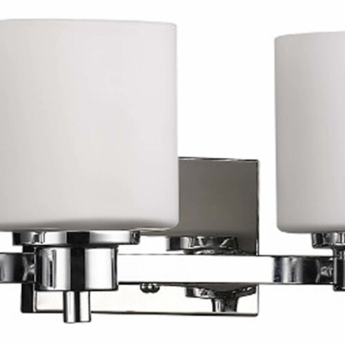 SOLBI Contemporary 4 Light Chrome Finish Bath Vanity Wall Fixture White Glass Perspective: back
