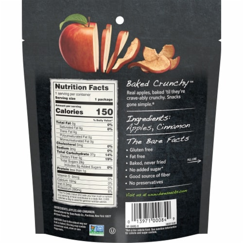 Bare Naturally Baked Crunchy Cinnamon Apple Chips Perspective: back
