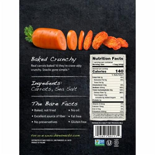 Bare Baked Crunchy Sea Salt Carrot Chips Perspective: back