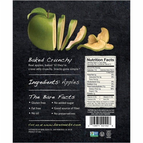 Bare Baked Crunchy Granny Smith Apple Chips 6 Count Perspective: back