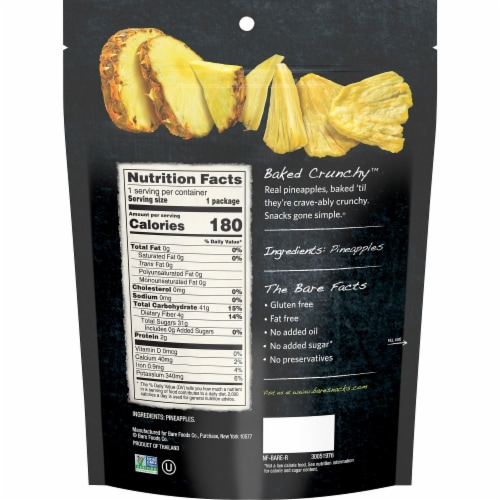 Bare® Baked Crunchy™ Gluten Free Simply Pineapple Chips Perspective: back