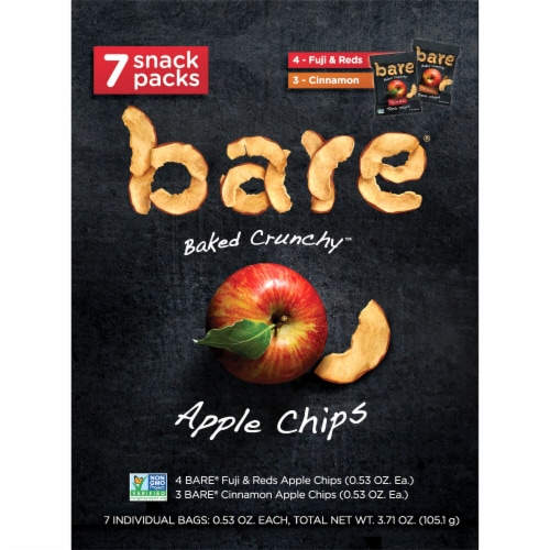 Bare Baked Crunchy Apple Chips Snack Pack Perspective: back
