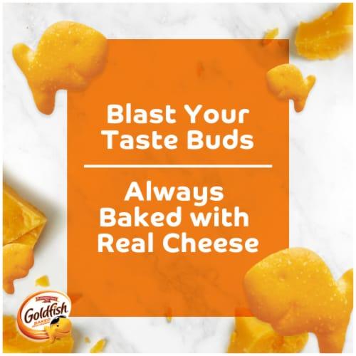 Goldfish Flavor Blasted Cheddar Jack'd Baked Snack Crackers Perspective: back