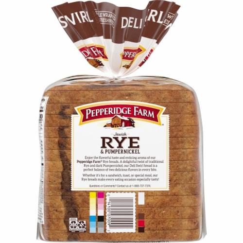 Pepperidge Farm Deli Swirl Rye & Pumpernickel Bread Perspective: back
