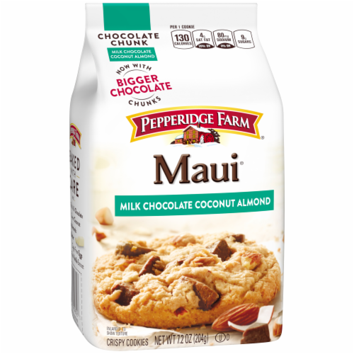 Pepperidge Farm Maui Milk Chocolate Coconut Almond Cookies Perspective: back