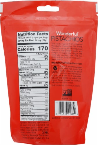 Wonderful® No Shells Chili Roasted Pistachios Pouch Perspective: back