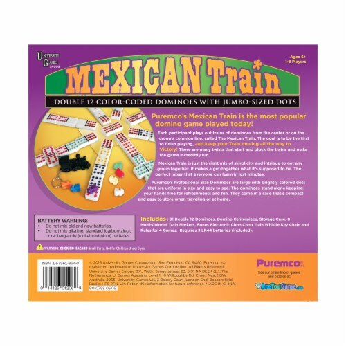 University Games Mexican Train Professional Size Double 12 Color Dot Dominoes Perspective: back