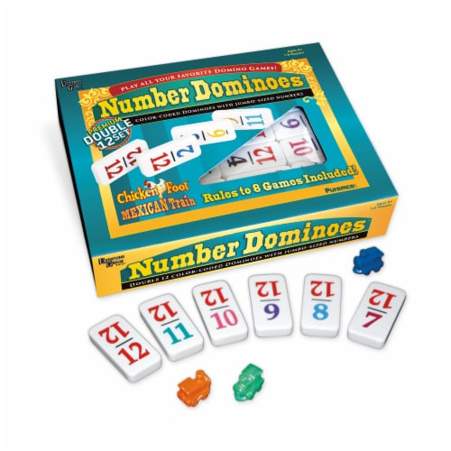 University Games Premium Double 12 Set Dominoes Perspective: back