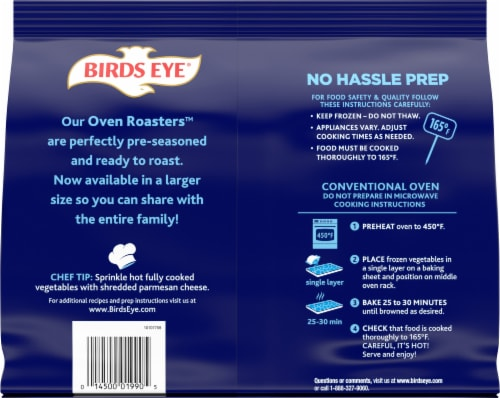 Birds Eye® Oven Roasters™ Broccoli and Cauliflower Frozen Vegetables Family Size Perspective: back