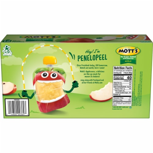 Mott's No Sugar Added Applesauce Pouches Perspective: back