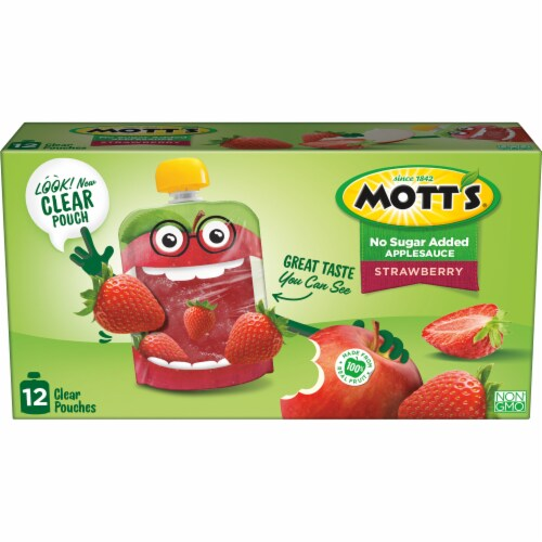 Mott's No Sugar Added Strawberry Applesauce Pouches Perspective: back