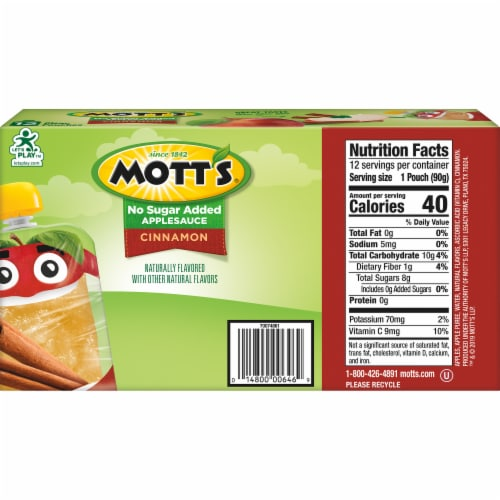 Mott's No Sugar Added Cinnamon Applesauce Perspective: back