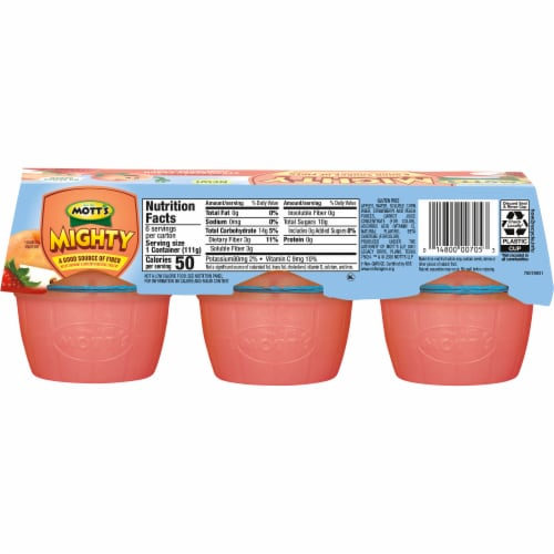 Mott's Mighty Strawberry Peach Applesauce Perspective: back