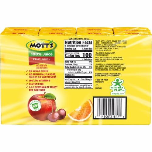 Mott's® Fruit Punch 100% Juice Boxes Perspective: back