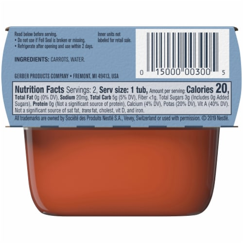 Gerber 1st Foods Carrot Baby Food Perspective: back