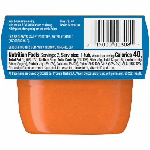 Gerber® Sweet Potato Stage 1 Baby Food Perspective: back