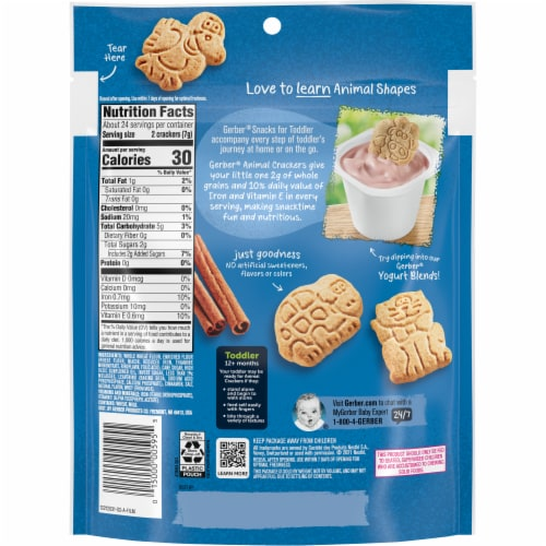 Gerber Cinnamon Graham Animal Crackers for Toddlers Perspective: back