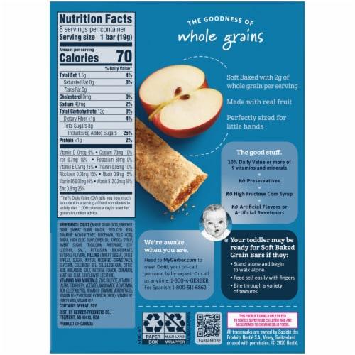 Gerber Toddler Apple Cinnamon Soft Baked Grain Bars Perspective: back