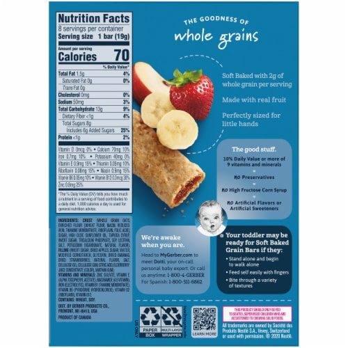 Gerber® Strawberry Banana Soft Baked Grain Bars Perspective: back