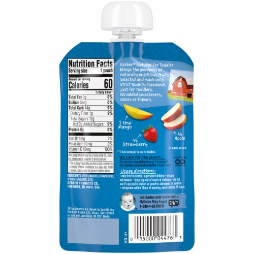 Gerber Apple Mango Strawberry Toddler Baby Food Perspective: back