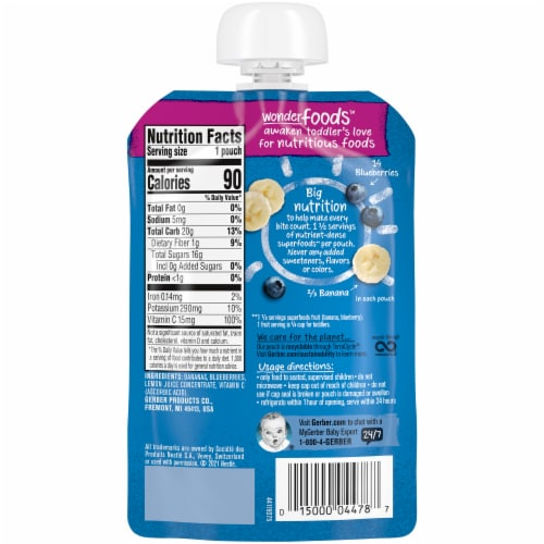 Gerber Banana Blueberry Toddler Baby Food Perspective: back