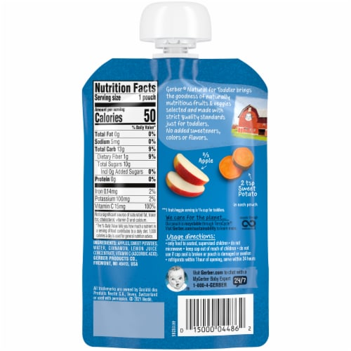 Gerber® Natural Apple Sweet Potato with Cinnamon Toddler Pouch Perspective: back