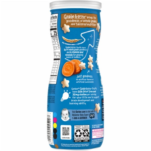 Gerber Crawler Puffs Sweet Potato Cereal Snack Perspective: back