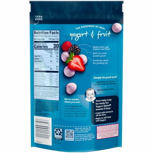 Gerber Crawler Yogurt Melts Mixed Berries Freeze-Dried Yogurt Snack Perspective: back