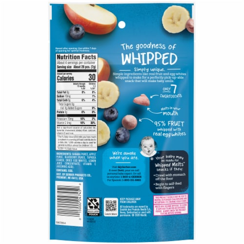 Gerber® Natural for Baby Banana Apple Blueberry Whipped Melts Stage 2 Snack Perspective: back