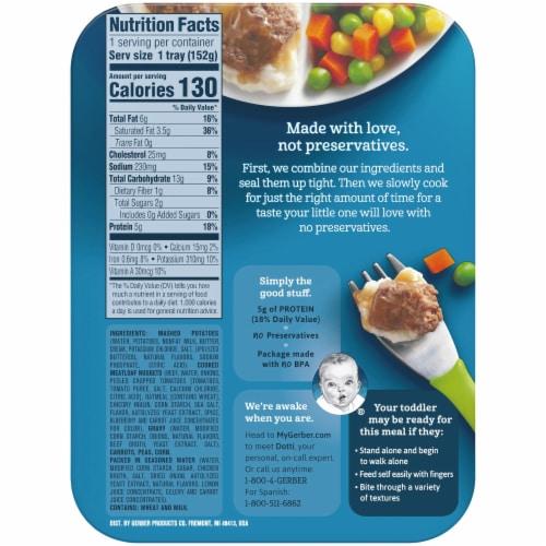 Gerber Toddler Mashed Potatoes & Meatloaf in Gravy Carrots Peas & Corn Toddler Lil' Entree Perspective: back